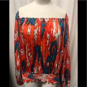 Michael By Michael Kors Orange/Blue sayin top